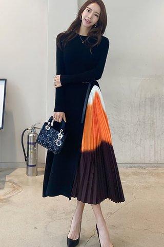 BACKORDER - Hathaway Side Pleat Knit Dress