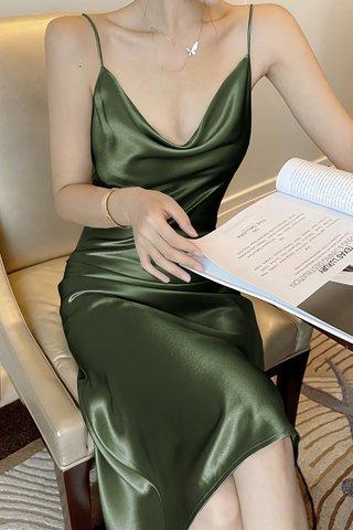 BACKORDER - Jalene Cowl Neck Dress In Olive Green