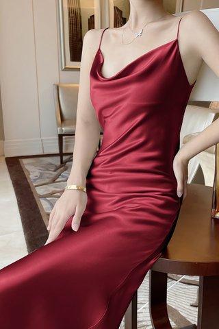 BACKORDER - Jalene Cowl Neck Dress In Wine Red