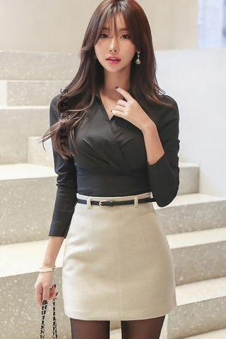 BACKORDER - Kamly Collar Top With Mini Skirt Set