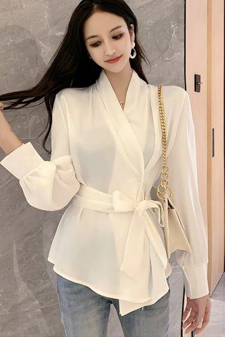 BACKORDER - Perrie Ribbon Tie Top In White