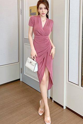 BACKORDER - Raslyne Ruched Asymmetrical Dress