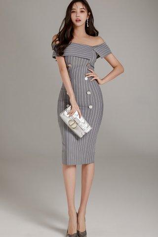 BACKORDER - Sienna Stripe Off Shoulder Dress